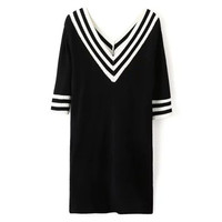 V-Neck Half Sleeve Knitted Dress