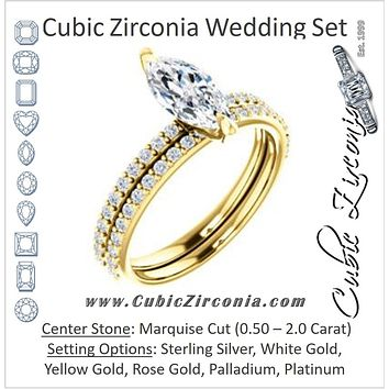 CZ Wedding Set, featuring The Geraldine Lea engagement ring (Customizable Marquise Cut with Delicate Pavé Band)