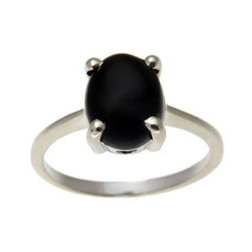 8X10MM GENIUNE NATURAL BLACK CORAL RING SET IN SOLID 14K WHITE GOLD