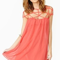 Caged Chiffon Dress - Poppy