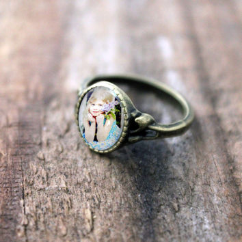Custom Bronze Photo Ring, Size 7