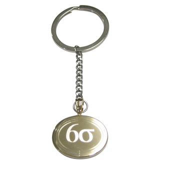 Gold Toned Etched Oval Six Sigma Pendant Keychain