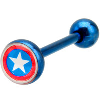 Captain America Anodized Barbell Tongue Ring | Body Candy Body Jewelry