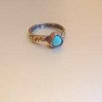 Turqouise feather ring   Sterling silver   Triangle   Brass   Size 7