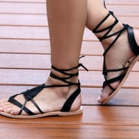 35% Off Black leather Strappy Sandals,Women's Leather Sandals,Greek Style Leather Women's Lace Up Sandals,Womens Leather Lace Up Strappy San