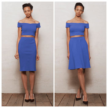 High-Waisted Skirt with Crop Top in Deep Blue. Choose from Off Shoulder Crop Top with Skater Skirt or Pencil Skirt