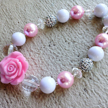 Pink, White and Silver Chunky Necklace - Large Bead Necklace with Rose - Bubblegum Necklace - Baby Necklace- Toddler Necklace- Girl Necklace