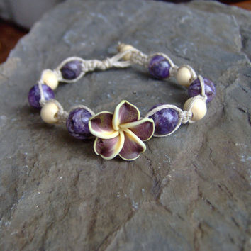 Hemp Bracelet Hemp Jewelry w Purple Hawaiian by KnottyandNiceHemp