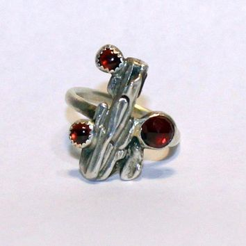 Three Garnet  Organic Oak Twig Silver  Jewelry Handmade  Ring