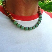 Jade, Coconut & Wooden Beaded Necklace / Tribal Surfer Necklace / Mens Wooden Beaded Necklace / Choker Necklace / Mens Ethnic Necklace