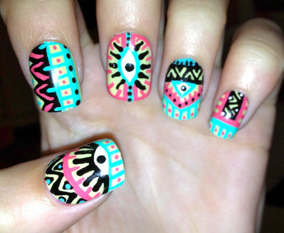 Pastel Tribal Aztec Eye Nails By From Compulsive Nails