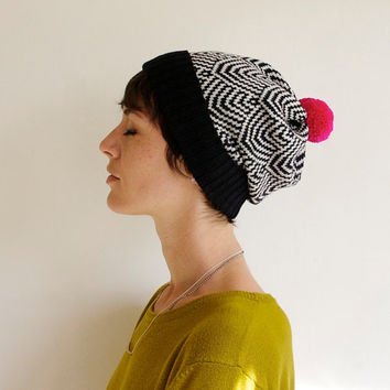 Scallop Knit Hat, Geometric Pattern, Wool Slouchy Beanie, Black & White with Neon Pink Pom Pom