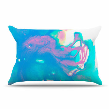 "Ashley Rice ""AC2"" Teal Blue Pillow Case"