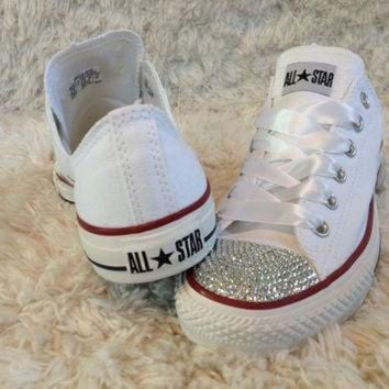 CREYUG7 White bling converse. Great wedding shoes.