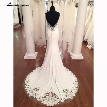 V Neck Mermaid Wedding Dresses Lace Appliques Boho Wedding Dress Backless Sexy robe de mariee 2018