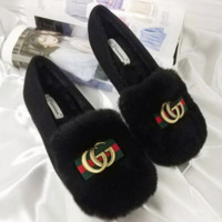 Gucci Double GG Women Casual Wool Single Shoes Shallow Mouth Flats Shoes Black G