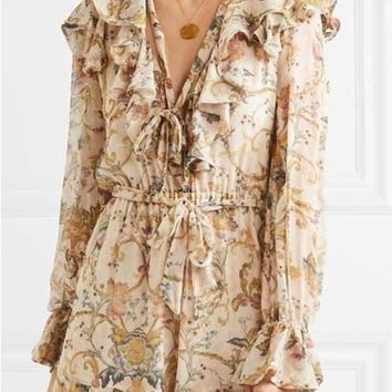 Zimmermann Ruffled Printed Silk-Gorgette Playsuit