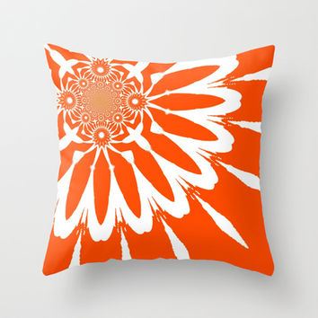 Orange & White Modern Flower Throw Pillow by 2sweet4words Designs