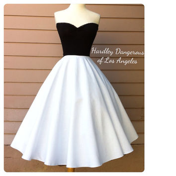MADE TO ORDER The Grace Skirt, Pin Up Mini to Mod Maxi Skirt Lengths,  Elegant Rockabilly Special Occasion Full Length White 50s Skirt