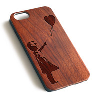 Girl and balloon Natural wood handmade laser engraved iPhone 7 6 6S Plus case WA012