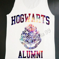 Hogwarts Alumni Galaxy Tank Top Harry Potter Tank Movie Tank Top Women White T Shirt Tunic Top Vest Sleeveless Women T-Shirt Size S,M,L