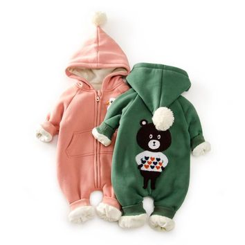 Top Baby Winter Warm Fleece Snowsuit With Hat Newborn Baby Girl Boy Clothes Cotton Snowsuit For Boys Winter Warm baby rompers