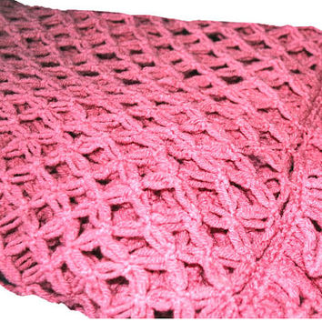 Vintage Rose-Colored Crocheted Afghan