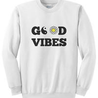 Good Vibes - Long Sleeve White Unisex Crewneck Sweatshirt