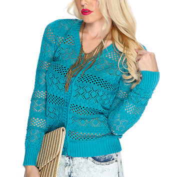 Teal Open Knitted Button Up Cardigan