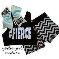 Custom Glitter Turquoise & Chevron Cheer Set - Personalize with Any Text - Includes Sports Bra, Shorts and Bow