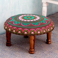 Seesham Wood Cotton Rayon 'Polychrome Jaipur' Foot Stool (India) | Overstock.com Shopping - The Best Deals on Ottomans