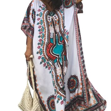 White Ethnic Print Kaftan Maxi Dress