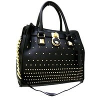 Classy! Chain Shoulder Strap Studded Handbag Purse (Black)