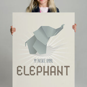 Nursery art, Printable poster, Kids decor, Origami, Wall Art, Home Decor, Elephant art print, Digital poster, Nursery Decor,INSTANT DOWNLOAD