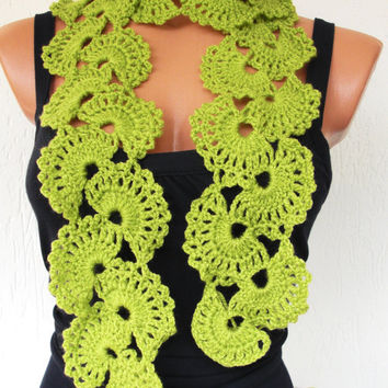 Crochet  Scarf -  Lace Scarf  in  Lime Green-Seashell Scarf - Inspired Turkish  Lace fall automn winter accessories gift christmas women