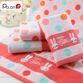 100% Cotton Pink Face Towel Cute Rabbit Animal Embroidered Bath Towel for Adult Child Soft Antibacterial Towels