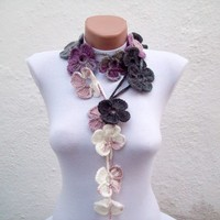 Handmade crochet Lariat Scarf Lilac Purple Grey  White Flower Lariat Scarf Colorful Variegated Long Necklace Winter Fashion