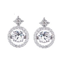 0.75 CT.(6mm) Sterling Silver Dancing Diamond Simulant - Diamond Veneer Round Earrings in Perpetual Motion 635E617