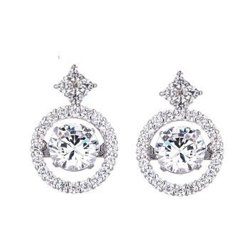 .75ct (6mm) Sterling Silver Dancing Diamond Simulant - Diamond Veneer Round Earrings in perpetual motion 635E617