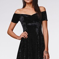 Kendall & Kylie Crushed Velvet Off Shoulder Fit & Flare Dress - Womens Dress - Black