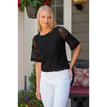 New Perspective Lace Top : Black