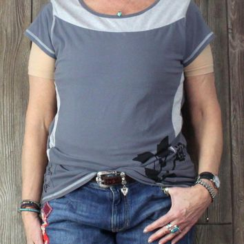 Cute Life is good xl size Top Gray Stretch Active Wear Shirt Womens Organic Cotton