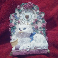 Ceramic White Persian Meowing Cat Clock With Two Kittens and Pink Blue Floral Design