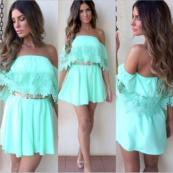Women Elegant Solid Color Lace Trumpet Sleeves Mini Dress 2016 Summer A-Line Beach Dresses Bodycon Vestidos