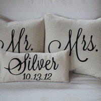 Mr. & Mrs. Custom Pillow with Name and Wedding Date