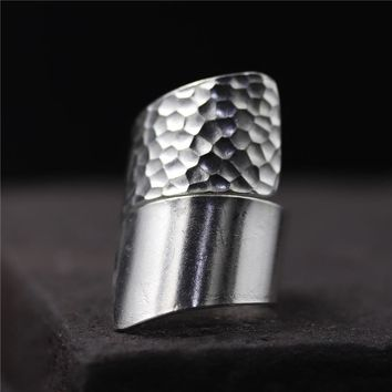 Vintage Exaggerated Real Pure 925 Sterling Silver Wide Rings For Women Irregular Hammering Trace Adjustable Large Rings