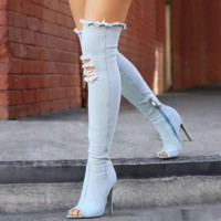 Women Fashion Hollow Fish Mouth Heels Shoes Denim Knee-high Boots