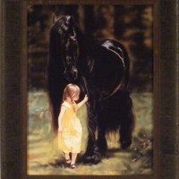 Back To The Barn by Lesley Harrison 17x21 Girl Walking Black Stallion Horse Framed Art Print Wall Décor Picture