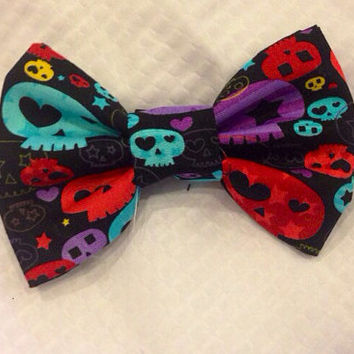 Rainbow Skull Hair Bow or bow tie, Hearts and Rainbows skull bow, black fabric hair bow or bow tie with bright skull print - infant - adult