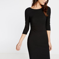 Zip Back Ribbed Sheath Dress